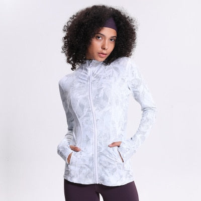 Women's Printing Stretch Running zip-front Long-sleeved Yoga Jacket