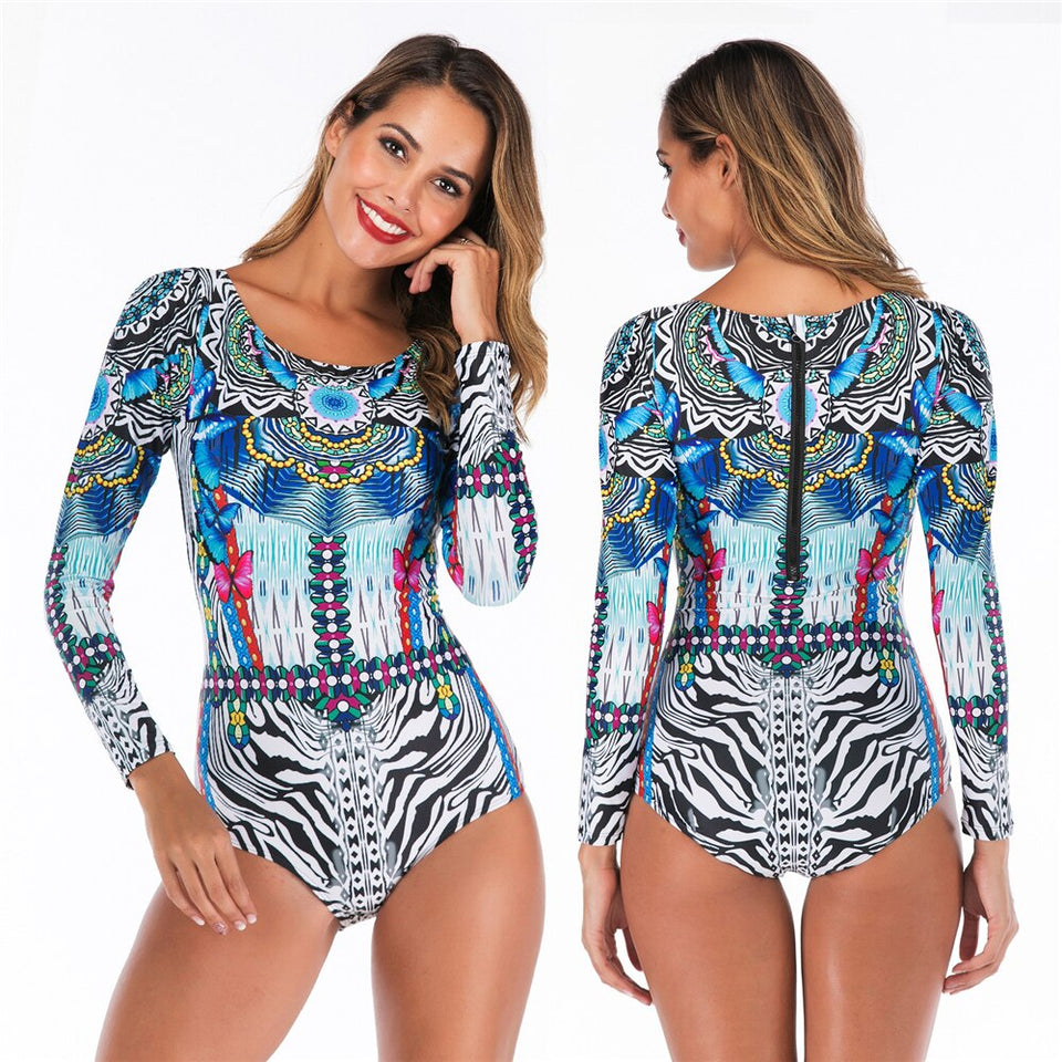 Plus size XXL Women's Long Sleeves Rashguard  Floral One Piece Swimsuit