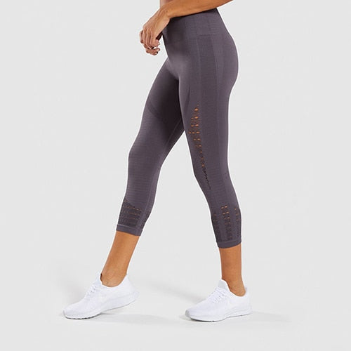 High Waist Energy Seamless Fitness Cropped Tights Yoga Pants