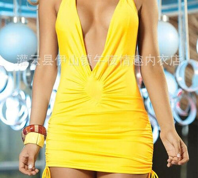 6 colors sexy nightclub dress hot selling sexy costume v deep backless NEW club wear Halter style Sling Backless