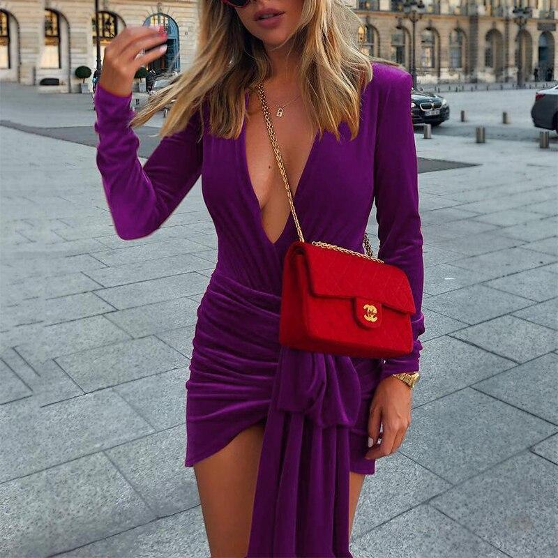 Long Sleeve Lace Up Sexy Velvet Deep V Neck  Party Bodycon Dress