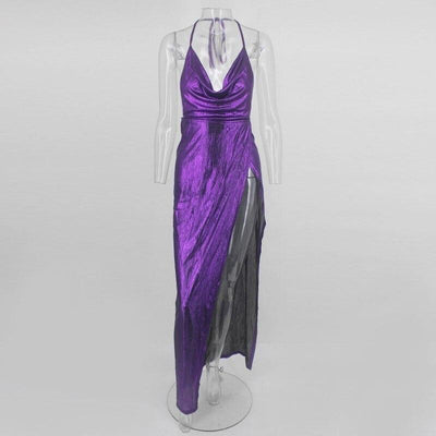 Green/Purple Sleeveless  Reflective Backless Long Bodycon Dress
