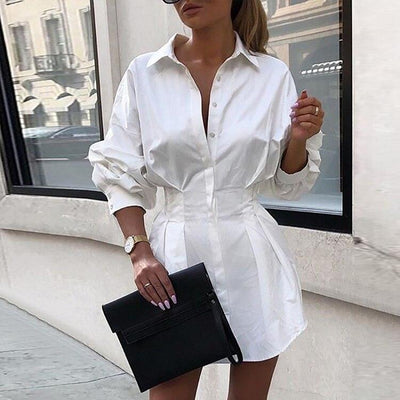 Turn-Down Collar Button Shirt  Office Dress
