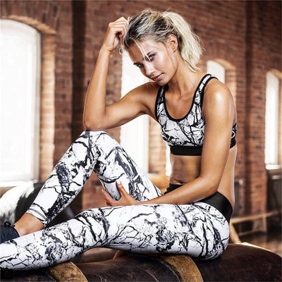 3d Printed Women's Yoga Slim High Elastic Tight Breathable Running Sport 2 Pcs Sets