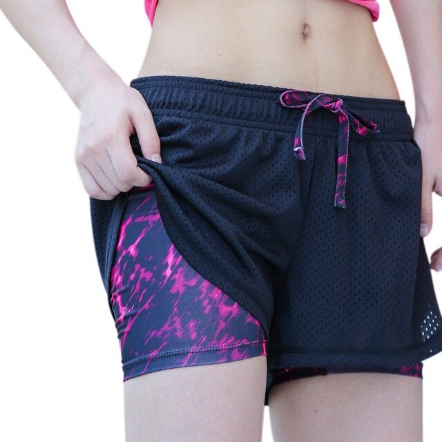 2 in1 Women Summer Yoga Shorts