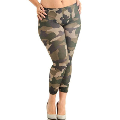 Elastic Skinny Camouflage army green workout leggings