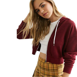 Burgundy-cropped zip up hoodie women