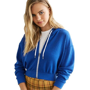 Blue-cropped zip up hoodie women
