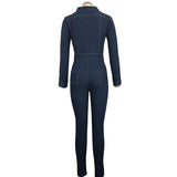 Women's Long Sleeve Front Zipper Denim Jumpsuit
