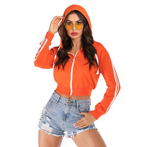 women's Cropped zip up sweater hoodies orange long sleeve front zipper