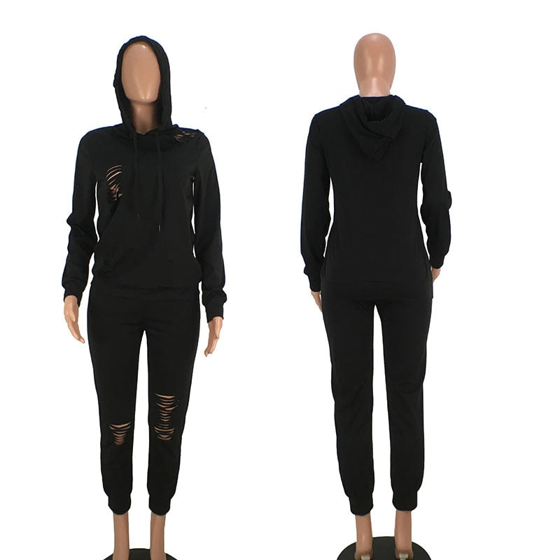 Women's Hoodies Sweatshirt+Hollow Pants Outfits Sets