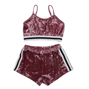 Women Crop Top shorts Outfit Yoga 2PCS/Set