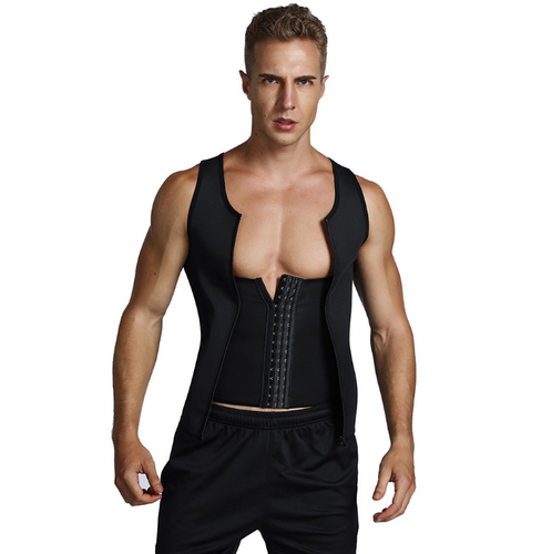 Men's sports neoprene steel corsets buckle + zipper double pressure explosion-proof body sculpting vest