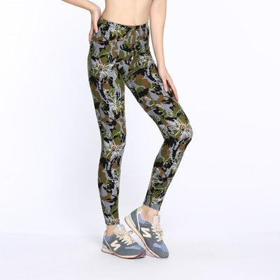High Elastic Skinny Camouflage Army Green Multicolor workout Legging