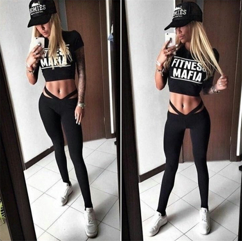Solid Letters Lace High Waist  Short Top+pants 2 Piece Yoga Jogging Suit