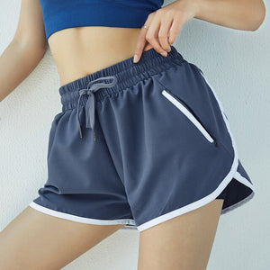 Women Zipper Pocket Blue Running Shorts