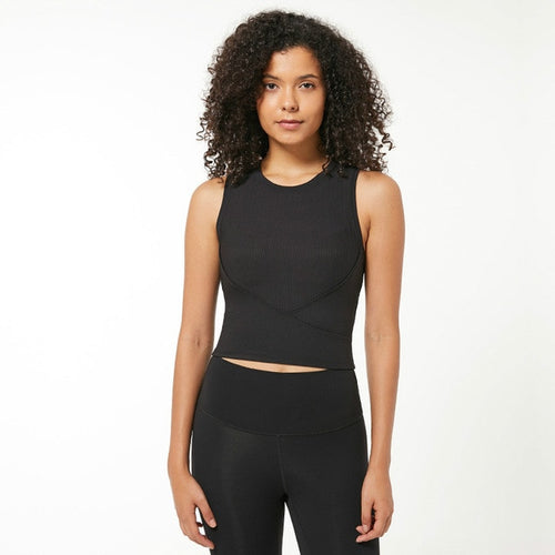 Black-Stretchy High O-neck yoga sports bra