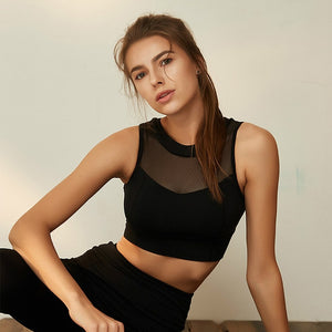 Black-High neck anti-sweat Back Zipper Sport Bras