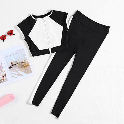Crew Neck Cap Sleeve Color Blocking Zip Crop Top High Waist Pocket Skinny Pants Women Yoga Suit
