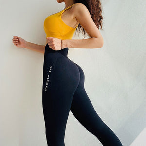 Fitness women seamless high waist gym booty pants