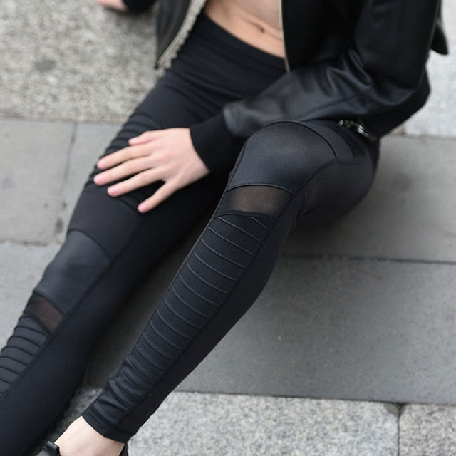 Women Black  Elastic waistband High Waisted Yoga pants with Mesh Panels