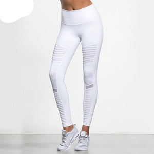 Women White Elastic waistband High Waisted Yoga pants with Mesh Panels