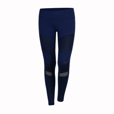 women blue Elastic waistband High Waisted Yoga pants with Mesh Panels