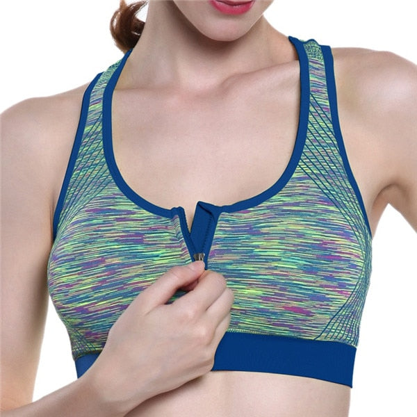 Blue-Front zipper sports bra yoga without steel ring