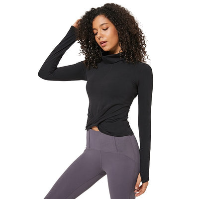 Long Sleeve Yoga Crop Tops with Thumb Hole