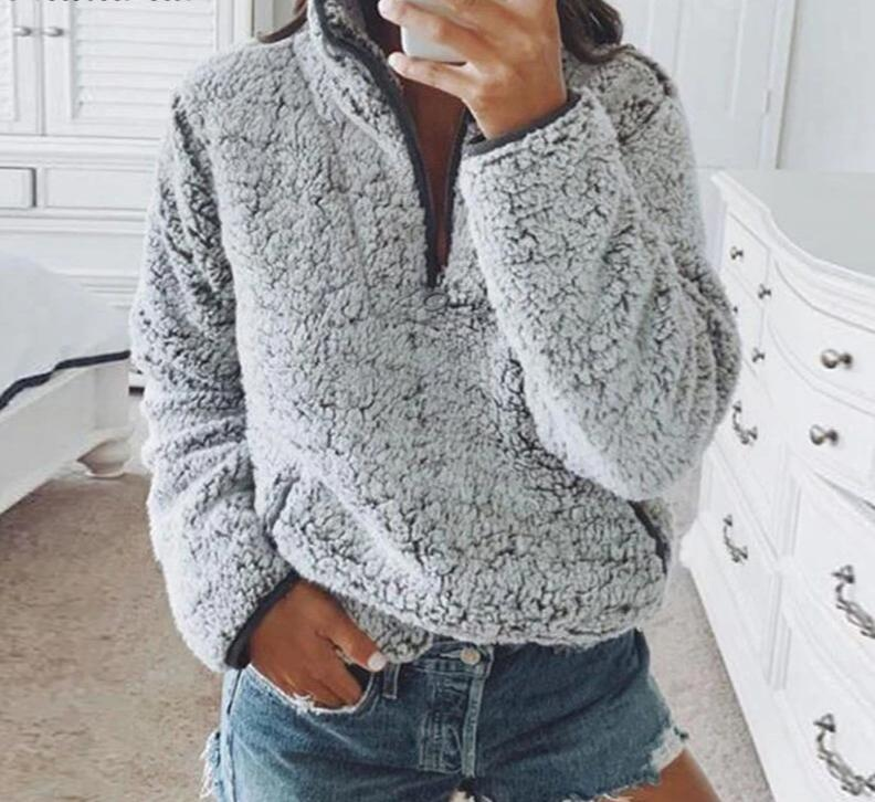 Gray/White Fleece Fluffy Oversized Hoodie Women Casual Warm Faux Fur Pullover SweatshirtGray/White Fleece Fluffy Oversized Hoodie Women Casual Warm Faux Fur Pullover Sweatshirt
