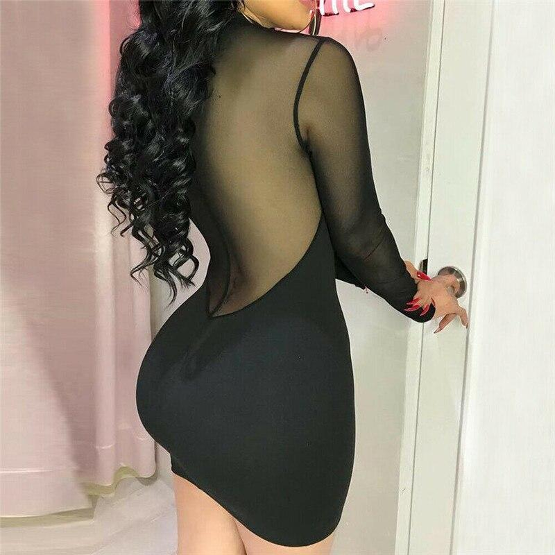 Casual Long Sleeve Evening Party Long Sleeve Transparent Bodycon Dress