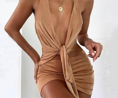 Backless Deep V Neck Party Bodycon Dress