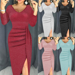 Dress Women Fashion Sexy V-Neck Sequins High Slit Bodycon Bag Hip Dress Long Sleeve Party Dresses Night Dress Vestidos Femme 5