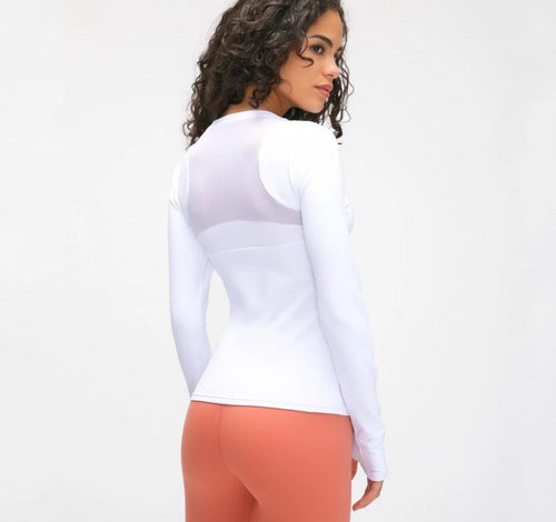 Built-in Pads Sport Workout Long-Sleeved Shirts Women Quick-Dry Mesh Patchwork Fitness Workout Tops with Thumb Holes