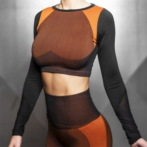 Long Sleeve Contrast Seamless Crop Top  + Workout Yoga Leggings Set