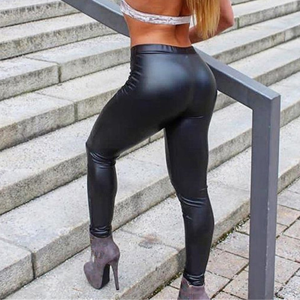 Women's  Bottom Hip-up Bomb Leather Leggings
