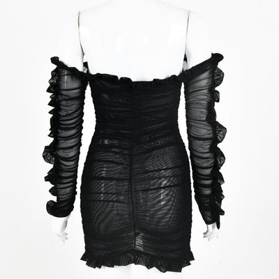 Black Women Deep V-neck Lace up Off Shoulder Ruffle Hem Backless Bodycon Dress