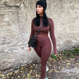 Women  ActiveWear Bodycon Outfits Long Sleeve Top And Pants Set