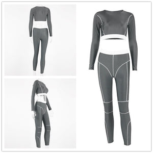Women's Long Sleeve Line Patchwork tops + Leggings Athleisure set
