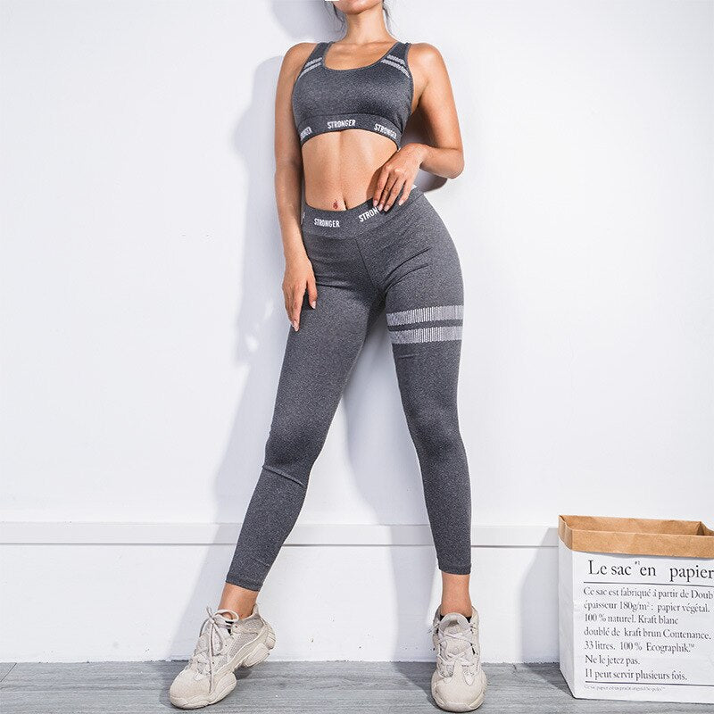 Women's Letter Stripe Printed Workout Sets