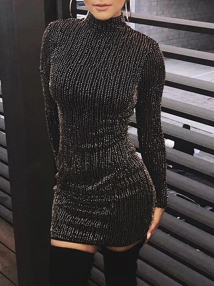 Women Black Sequined Long Sleeve Tassel Turtleneck Bodycon Dress