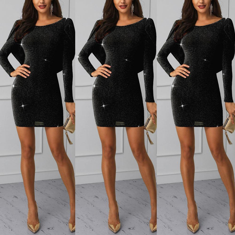 Black Long Sleeve Glitter Crisscross Open Back O-neck Bandage Bodycon Dress