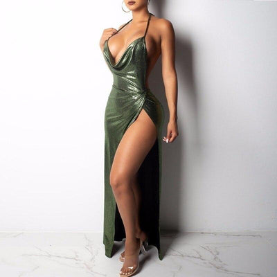 Green/Purple Sleeveless Spaghetti Strap  Reflective Backless Side Split Sexy Long Bodycon Dress