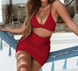 Warp V Neck Backless Bow Tie Party Beach Hollow Out Bandage Bodycon Dress