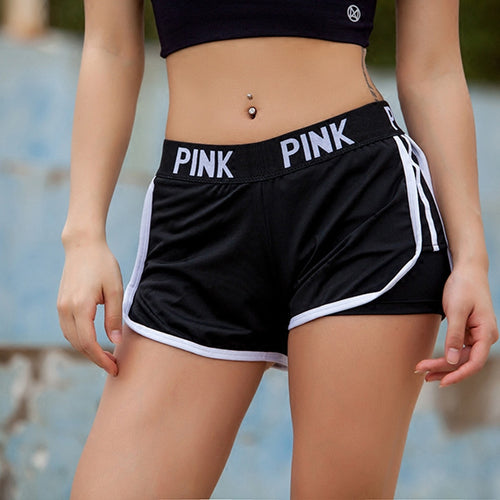 PINK Letter Printed Quick Dry Running Workout Yoga Shorts