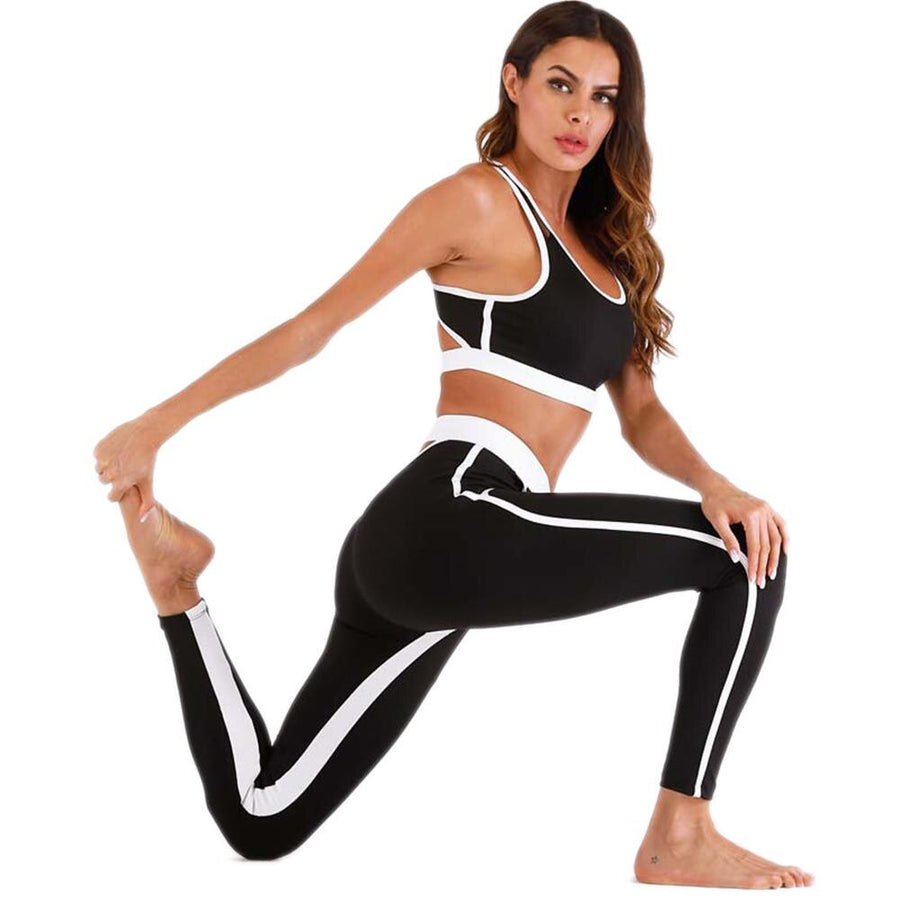 Women's Backless Vest Bra + High Elastic Workout Leggings Set