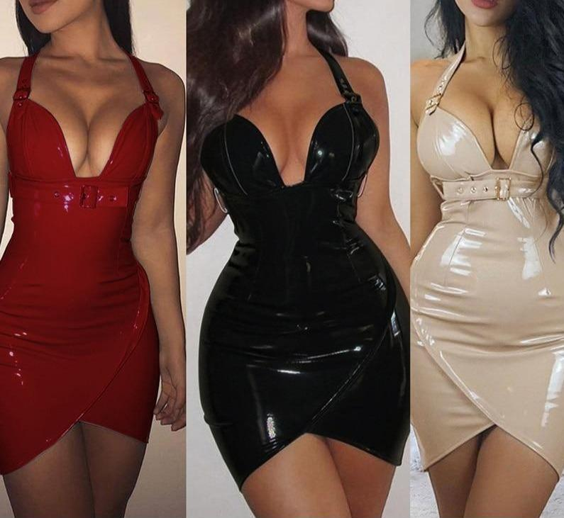 Deep V Neck PVC Wet Look Leather with Waist Belt Sheath Red Black Bodycon Dresses