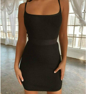 Women's Sleeveless BacklessHollow Out Wrap Bodycon Dress