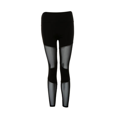 Women Yoga Compression Slim Mesh Black Leggings