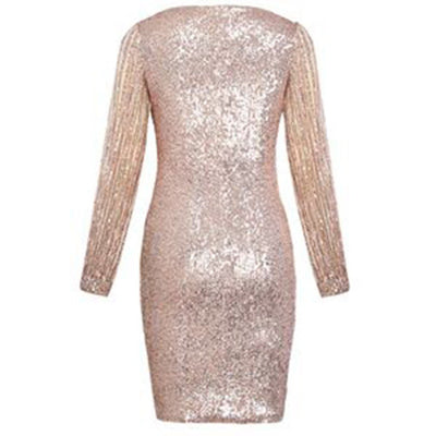 Women V Ncek Solid Sequined Glitter Stitching Shining Club Sheath Long Sleeved Bodycon Dress